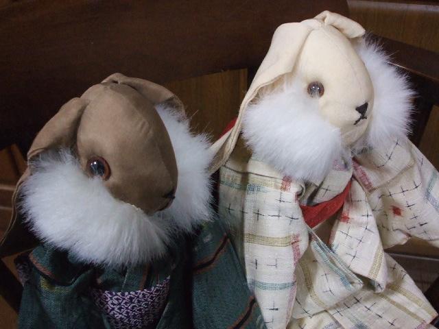 紬の着物を着たうさぎさん人形_f0019498_19174086.jpg