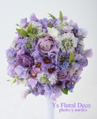 ナチュラルな紫色のラウンドブーケ アニヴェルセル表参道さんへ_b0113510_19583040.jpg
