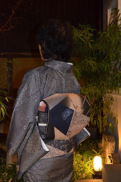 藍染の大島に、おしゃれ袋帯を締めて忘年会へ_d0230676_14325992.jpg