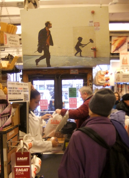 NYの老舗スーパーのレジ前に吊るされていた新聞記事の拡大コピー_b0007805_11284728.jpg