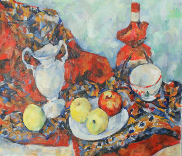 白い花瓶と赤い布(完成)_c0236929_1862921.jpg