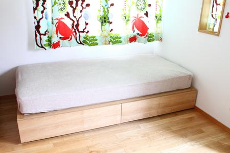 フカフカした高級ベッドのイメージ。 ・フレームの品質:◎ ウッドスプリングフレームはそれだけで単体のベッドフレームとしても通じるクオリティーの高さ。
