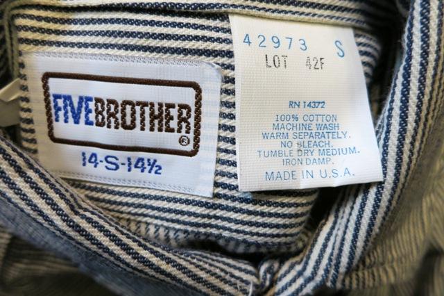 1月11日(土)入荷商品!デッドストック 80's FIVE BROTHERS ヒッコリーシャツ!_c0144020_16554638.jpg