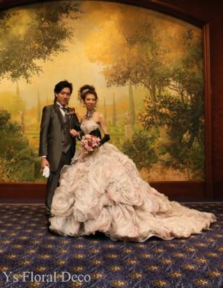 ニュアンスピンクのクラッチブーケ グレーがかったニュアンスカラーのドレスに_b0113510_1030183.jpg