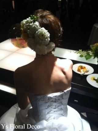 生花のヘッドドレスとクラッチブーケ 八芳園さんへ_b0113510_1761643.jpg