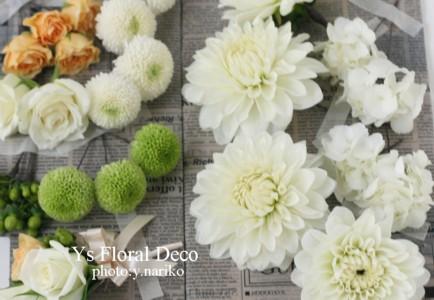 生花のヘッドドレスとクラッチブーケ 八芳園さんへ_b0113510_1763310.jpg