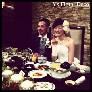生花のヘッドドレスとクラッチブーケ 八芳園さんへ_b0113510_176688.jpg