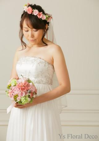 ニュアンスピンクのブーケと花冠 アーティフィシャルフラワー_b0113510_11233263.jpg