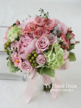 ニュアンスピンクのブーケと花冠 アーティフィシャルフラワー_b0113510_11235432.jpg