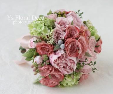 ニュアンスピンクのブーケと花冠 アーティフィシャルフラワー_b0113510_11242744.jpg