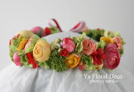 カープレッドと七夕 カープファンのおふたりへ 花冠とリストレット_b0113510_11261947.jpg