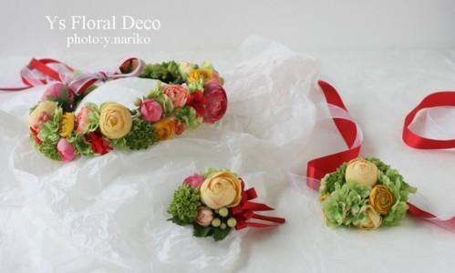 カープレッドと七夕 カープファンのおふたりへ 花冠とリストレット_b0113510_11264121.jpg
