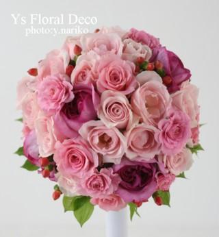 濃いピンク色のドレスにあわせるブーケと花冠 ウェスティンホテル東京さんへ_b0113510_11282653.jpg