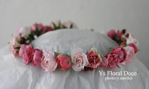 濃いピンク色のドレスにあわせるブーケと花冠 ウェスティンホテル東京さんへ_b0113510_11283245.jpg