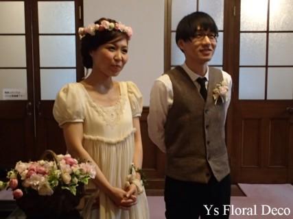 桜色のバスケットブーケ、花冠、リストレット 紅茶染めのドレスに_b0113510_11323412.jpg