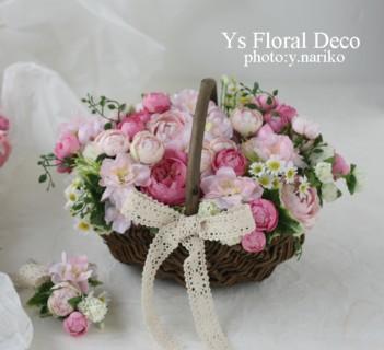 桜色のバスケットブーケ、花冠、リストレット 紅茶染めのドレスに_b0113510_11324615.jpg