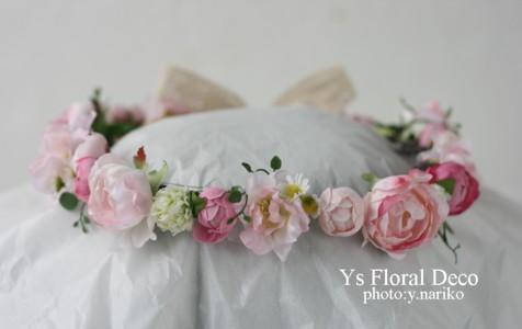 桜色のバスケットブーケ、花冠、リストレット 紅茶染めのドレスに_b0113510_11325151.jpg