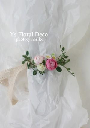 桜色のバスケットブーケ、花冠、リストレット 紅茶染めのドレスに_b0113510_1133823.jpg