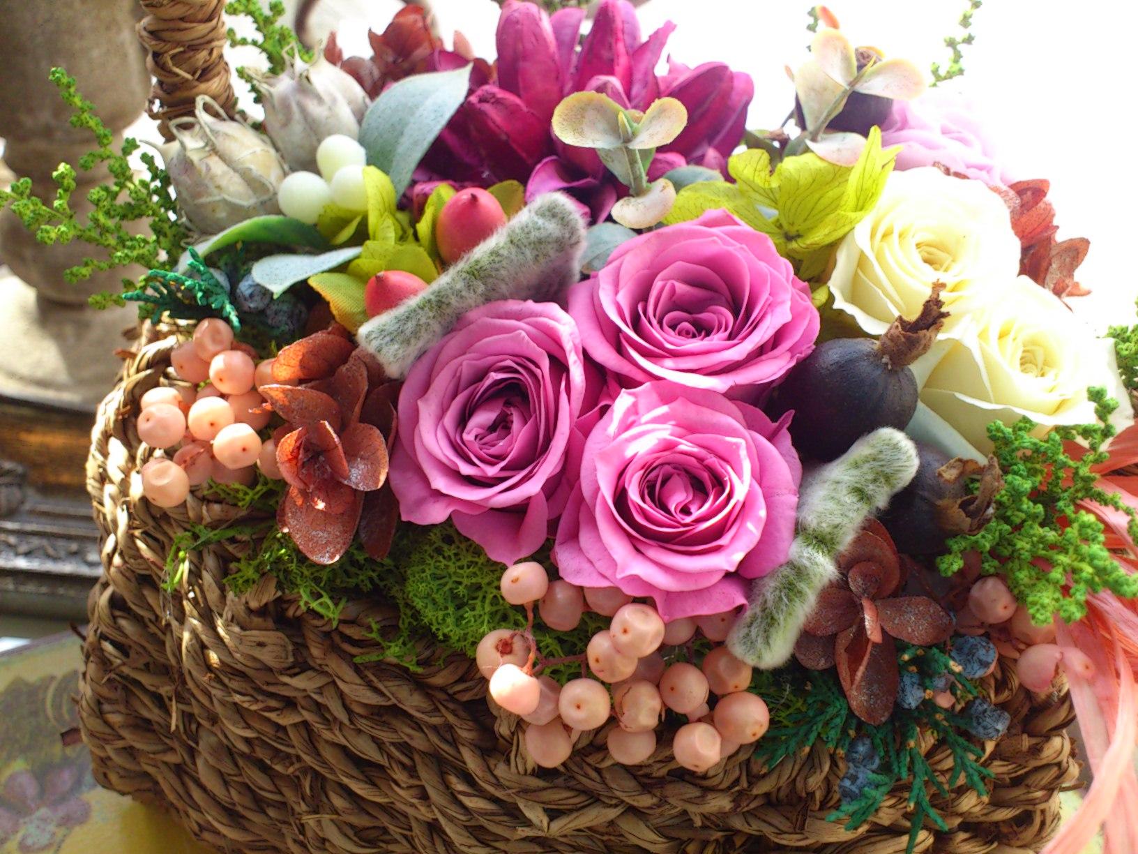 花かごアレンジ_e0128024_2362093.jpg