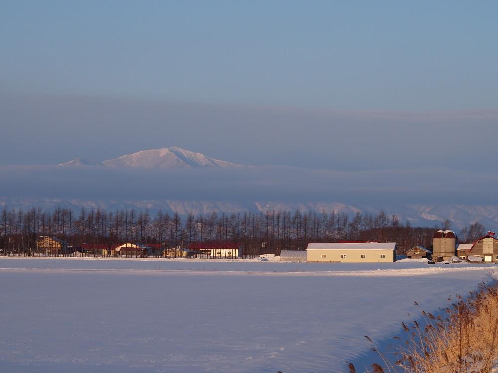 霧氷ツアーの帰りに見た・・筋状の雲から頭を出す日高山脈_f0276498_13485866.jpg