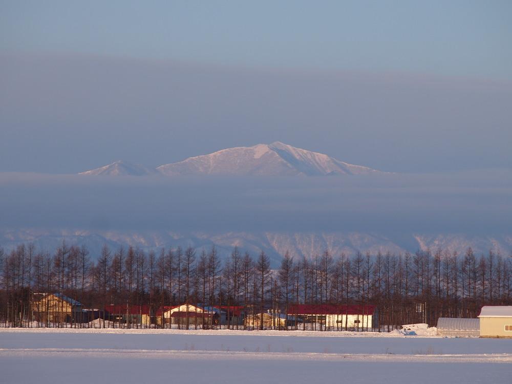 霧氷ツアーの帰りに見た・・筋状の雲から頭を出す日高山脈_f0276498_13535078.jpg