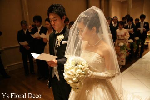 白とシルバーのティアドロップブーケ ウェスティンホテル東京さんへ_b0113510_23392320.jpg