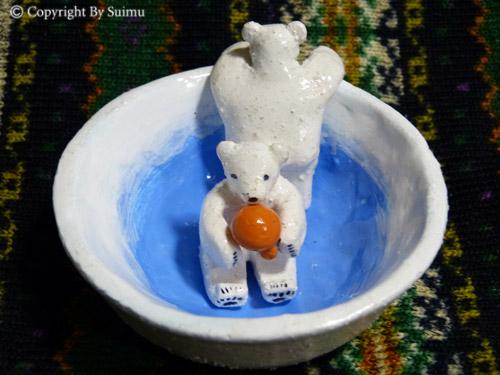 陶芸(オーブン)粘土のシロクマさん 1_d0154140_20054339.jpg
