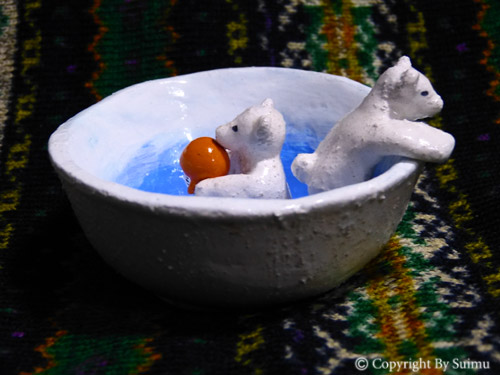 陶芸(オーブン)粘土のシロクマさん 1_d0154140_20060246.jpg