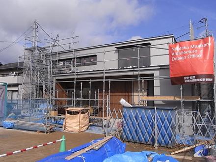 『プールサイドの家』 外壁が完了しました。_e0197748_1620346.jpg
