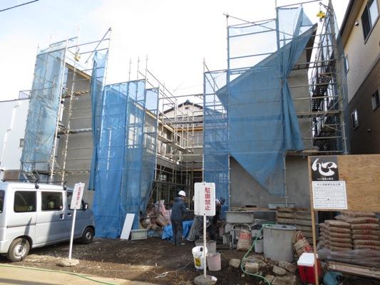 朝霞の家 外壁モルタル塗り_c0310571_11462764.jpg