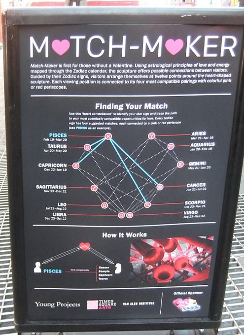 NYのタイムズスクエアに、相性診断できるアート作品「マッチ・メーカー」登場中_b0007805_14131698.jpg