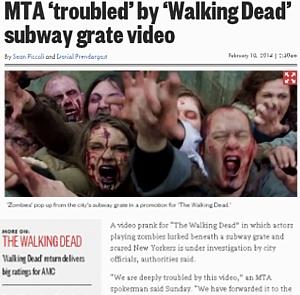 NYの街角では、ゾンビのドッキリにもご注意ください:) The Walking Dead Zombies Prank NYC _b0007805_9145765.jpg