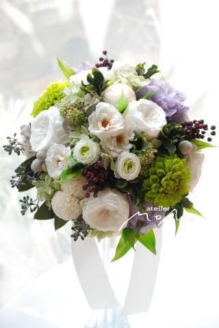 ラウンドブーケ ライラック色の紫陽花を入れて_a0136507_17224059.jpg