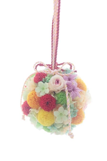 和装のボールブーケ 八芳園様へ 和風プルズブーケの演出_a0042928_2226112.jpg