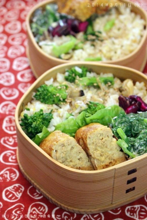 【ゆりぽむさんのお弁当】菜の花とアサリの炊きこみご飯のお弁当
