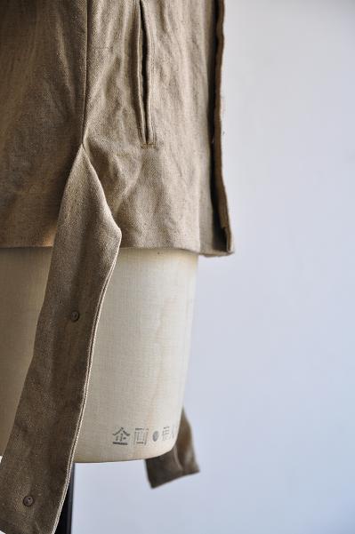 ゴーシュ シルクリネンツイル ノーカラー ジャケット