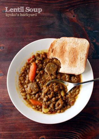 ポトフの残りで、レンズ豆のカレースープ_b0253205_1545197.jpg