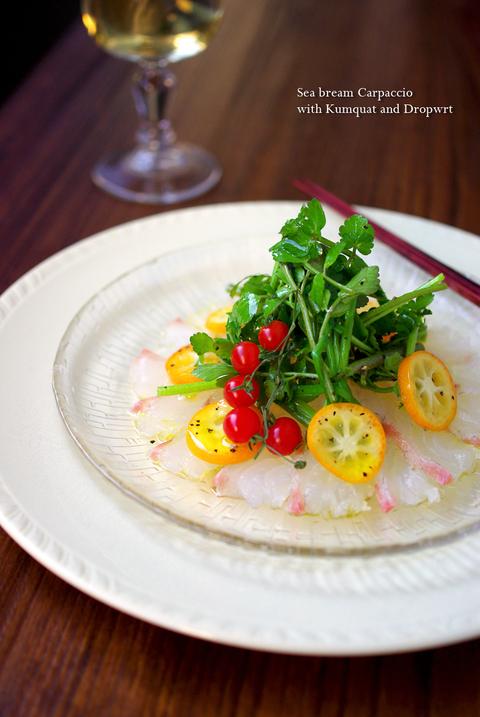 真鯛の和風カルパッチョ☆ 金柑と芹のサラダを添えて♪_d0159001_2132351.jpg