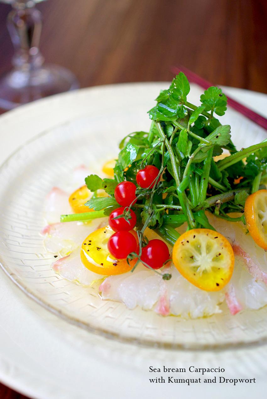 真鯛の和風カルパッチョ☆ 金柑と芹のサラダを添えて♪_d0159001_21374829.jpg