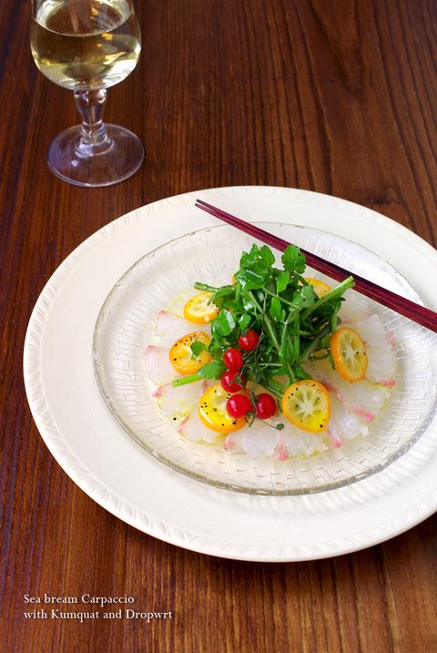 真鯛の和風カルパッチョ☆ 金柑と芹のサラダを添えて♪_d0159001_21462958.jpg