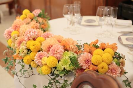 春の装花 オレンジ リストランテASO様へ_a0042928_13122135.jpg