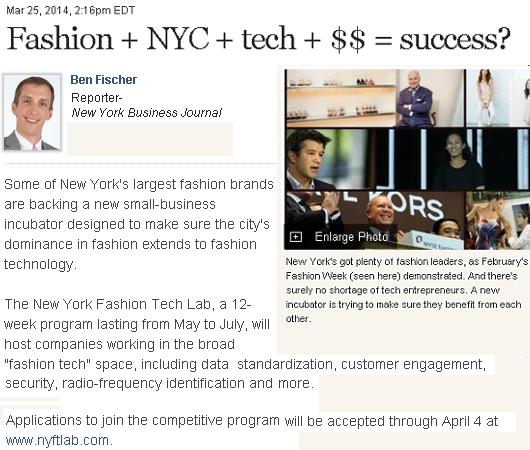 ニューヨークにファッション・テック・ラボ(The New York Fashion Tech Lab)誕生?!_b0007805_3511046.jpg