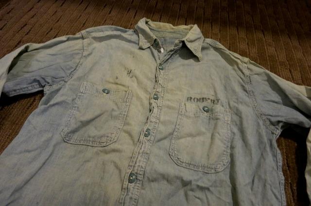 アメリカ仕入れ情報#42 WWⅡ U.S NAVY  ステンシル入り シャンブレーシャツ!_c0144020_1282620.jpg