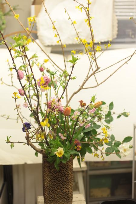 定期レッスン3月 春の花木の花瓶活け前篇 複数の花から枝ものまで_a0042928_16182437.jpg