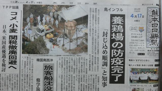 熊本で発生した鳥インフルエンザ対策、恐怖の鳥インフルエンザに見事な対応熊本県_d0181492_1623983.jpg