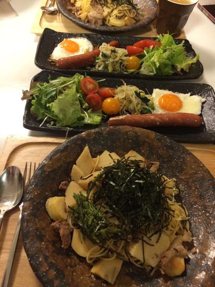 筍と豚肉の醤油パスタ・・・♪4/18①_b0247223_20422556.jpg