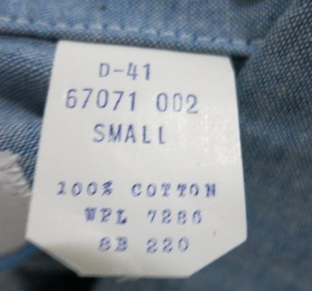 4/29(火)入荷商品!70'S ALL COTTON デッドストックシャンブレーシャツ Sサイズ!_c0144020_19554927.jpg