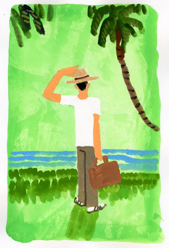 ANA機内誌翼の王国11月号吉田修一連載エッセイ「空の冒険」イラストレーション_c0075725_11285322.jpg