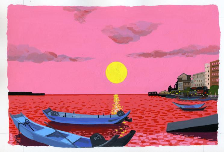ANA機内誌翼の王国12月号吉田修一連載エッセイ「空の冒険」イラストレーション_c0075725_1132448.jpg
