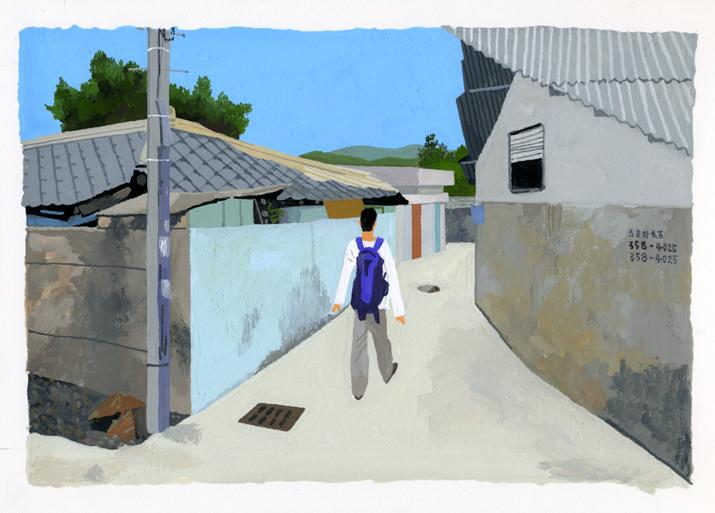 ANA機内誌翼の王国3月号吉田修一連載エッセイ「空の冒険」イラストレーション_c0075725_11235025.jpg